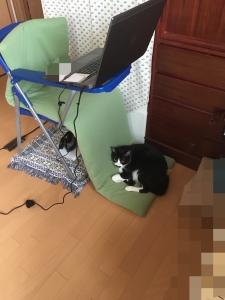 サイドテーブル付き椅子